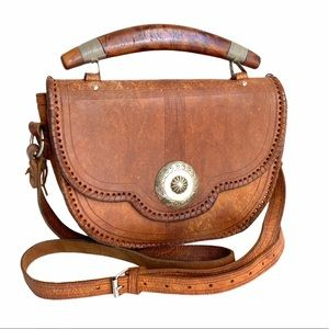 Vintage Western Hand Made Leather Purse Distressed